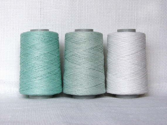 100/% Flax Linen Natural Gray 3 PLY 3,000 Yards 1 LB Linen Yarn Cone