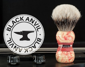 Shaving Brush - Black Anvil - Stradivarius. Raspberry Ripple