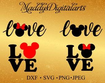 Love svg, Mickey svg, Disney love svg, Minnie svg, Love cricut, Love disney svg, Heart svg, Heart cricut,Disney SVG,Disney silhouette studio