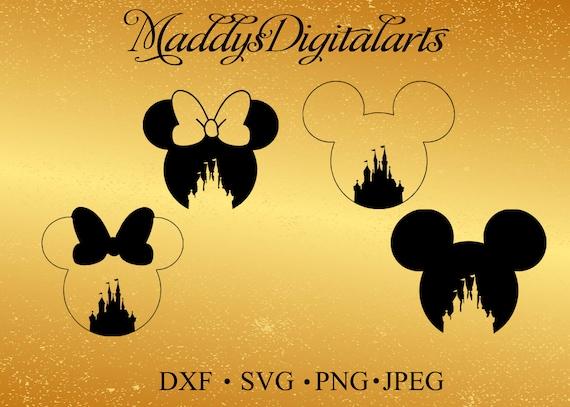 Disney Castle Mickey Mouse Svg Monogram Minnie Mouse Svg Frame Svg Dxf Silhouette Studio Silhouette Cricut Disney Head Monogram