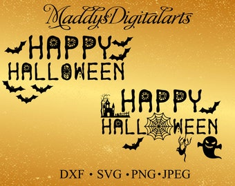 Happy Halloween Phrase Graphics Svg Dxf Png JpgVector Art Clipart Instant  Download Digital Cut Print File Silhouette Studio