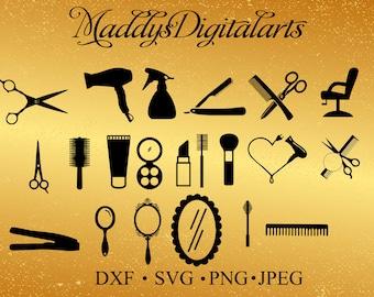 Hairdresser Svg Monogram Frames Svg Barber tools Silhouette, Hair salon Files Scissors, Brush, Comb Silhouette Cut files