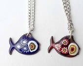 Fish enamel pendant , Murano millefiori glass on different colors of enamel base on copper Choose your color with no extra waiting time