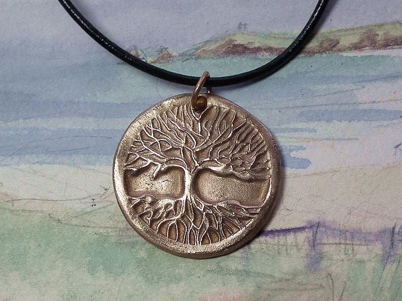 bronze on this shop goldcolour copper Yggdrasil the celts/'tree of life+black leather  silver colour  or goldy Unisex celtic Pendant
