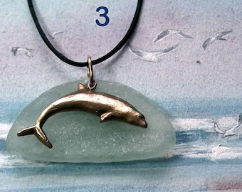 Choice of 3 pendants : handmade goldy bronze Dolphin on a nice seaglass I picked up on the beach in St Pierre QuiberonBrittany