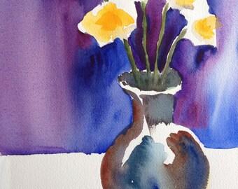 Spring Flowers - Original watercolor art