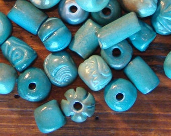 25 hand-made ceramic beads, assorted shapes in Turquoise tones