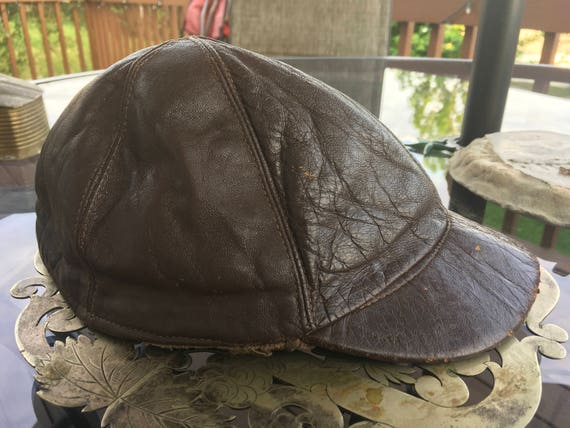 5c5f0b08729 Brown Leather Jockeys Cap Short Brim Hat Quilted 6 Panel