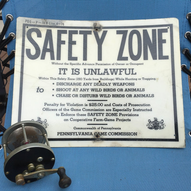 Pennsylvania Game Commission Safety Zone Vintage Sign Hunting