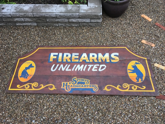 Vintage Firearms Unlimited Pittsburgh Gun Store Large Wood Etsy