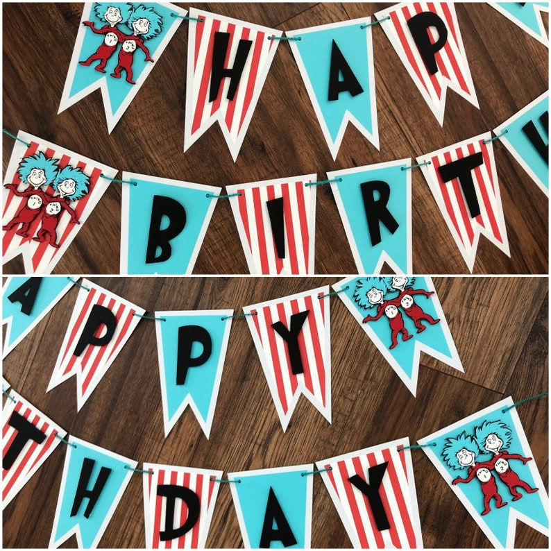 dcd3930603a2d Thing 1 Thing 2, Dr Seuss Happy Birthday Banner, Thing One Thing Two, Happy  Birthday Banner, Mixed Colors Banner