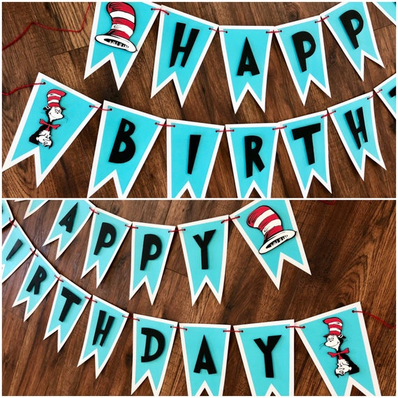 Dr Seuss Happy Birthday Banner Cat In The Hat