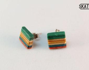 Skate & steel button earrings