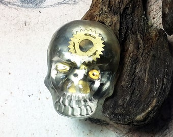 Adjustable steampunk gothic ring, bronze colour  filigree,  large resin skull/dead head, watch cogs