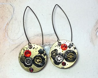 Steampunk earrings, art-deco, gustav Klimt style, made of  cogs/gears, black resin & red swarovski crystal cabs. for pierced ears or not
