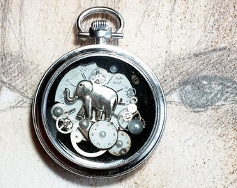 Steampunk   pendant, pocket watch case, elephant+ dial & watch gears included in resin, black leather cord, for men and women