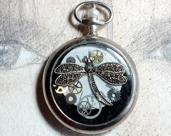 Unisex Steampunk pendant, pocketwatch case, dial, cogs, resin, metal dragonfly, freshwater pearl, for men and women , black leather cord