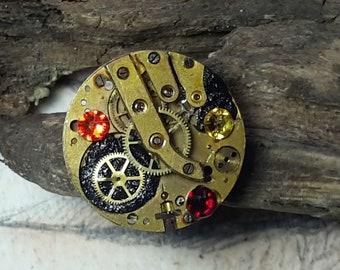 Ajustable steampunk ring, Gustav Klimt style, black filigree, black resin,  gears+red, yellow & orange Swarovski crystal cabs ,unique piece