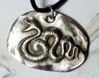Gothic unisex pendant :  snake in goldy  bronze. White bronze or red copper on commission for men and women
