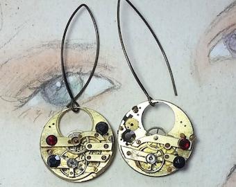 Steampunk earrings, art-deco, gustav Klimt style, made of  cogs/gears, black resin &   red and black  swarovski crystal cabs.