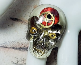 Adjustable steampunk gothic ring, bronze colour  filigree,  large resin skull/dead head, watch cogs, Skeleton