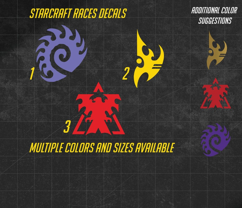 Starcraft Races Vinyl Decal - Zerg, Protoss, Terran - Multiple sizes and  over 60 colors to choose from