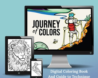 Journey of Colors | Digital Coloring Book and Guide to Technique | All Ages Coloring | Animals and Adventures | 24 Designs