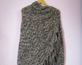 Long Poncho with Handmade fringes