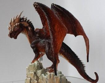 Red dragon figurine, fantasy animal figurine, dragon sculpture, dragon figurine