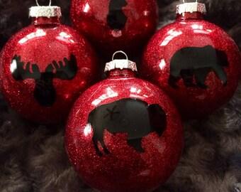 buffalo plaid christmas tree ornaments set of 4 glass ball ornaments