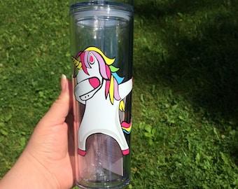 Unicorn Face tumbler with straw, Unicorn Dabbing