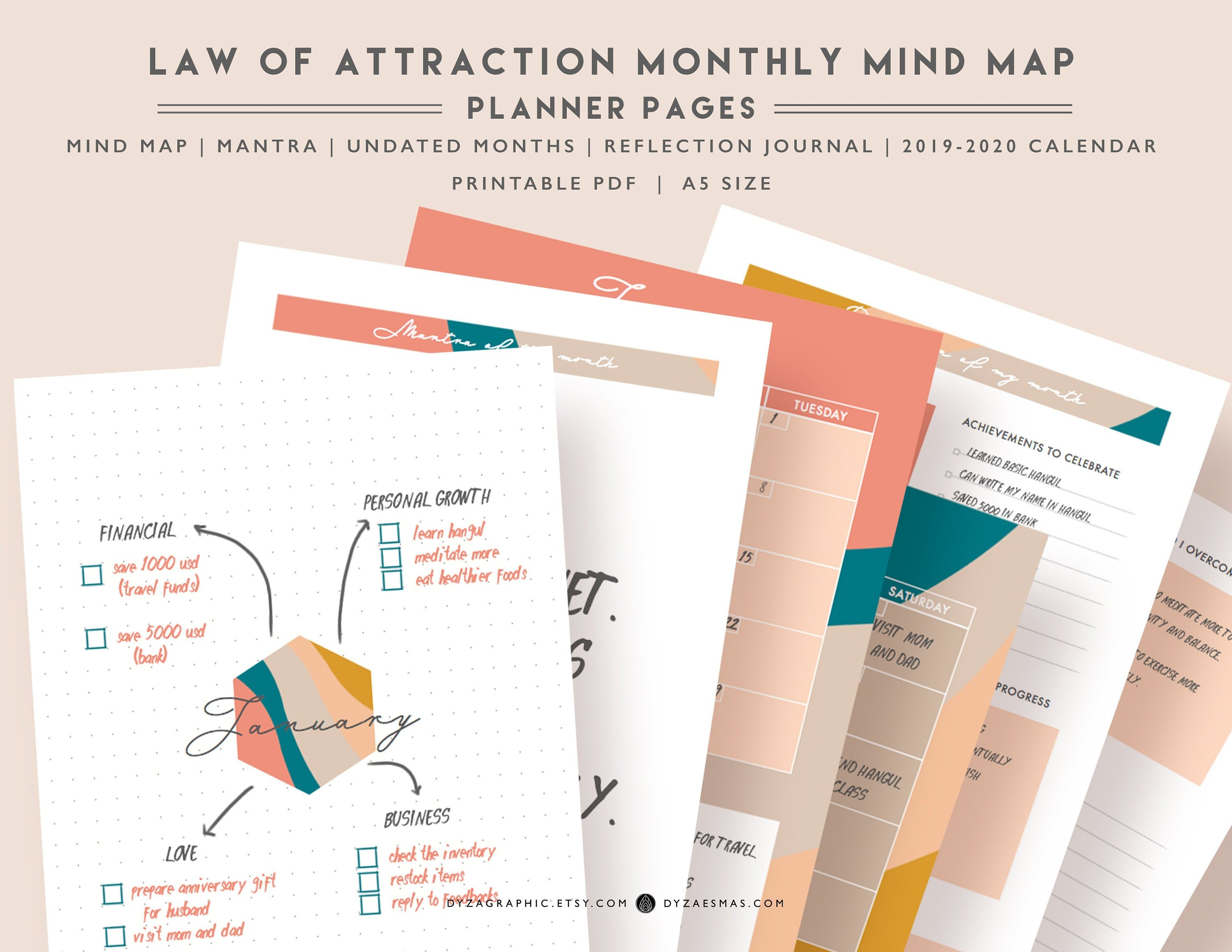 Printable Law of Attraction monthly planner, 2019 2020 Calendar, Mind map,  Manifest workbook journal, A5 size, Chic, undated, reusable
