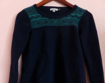 1990s Vintage Cashmere Navy Blue Green Toad & Co Long Sleeve Sweater Medium - Soft Preppy Hipster Indie Grunge