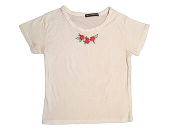 133044ec91 Vintage Brandy Melville T-Shirt White Top Embroidered Red Roses Small  Hipster Lolita Kawaii 90s 2000s Soft Tee