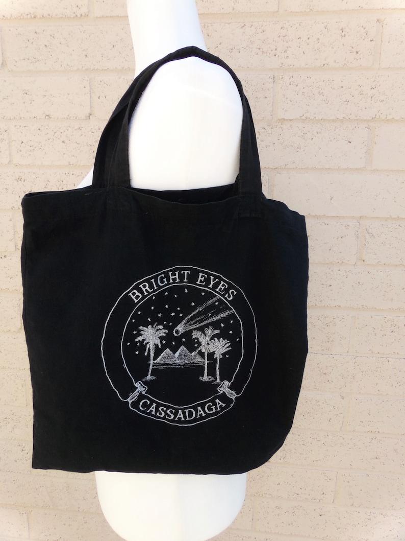 Vintage Bright Eyes Cassadaga Black Cotton Tote Bag Indie Rock Band Conor Oberst Hipster Desert Palm Tree Giza Pyramids Meteor Album Artwork