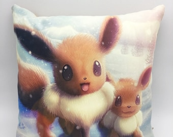 Eevee, Mother & Son high quality cushion. Perfect for the Nintendo or Pokemon fan.