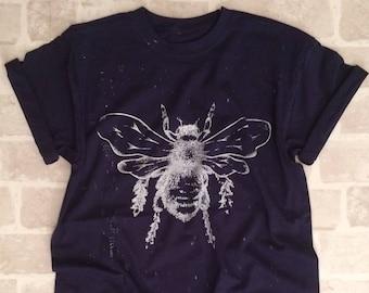 Navy Adult Bee Tee - Screen Printed