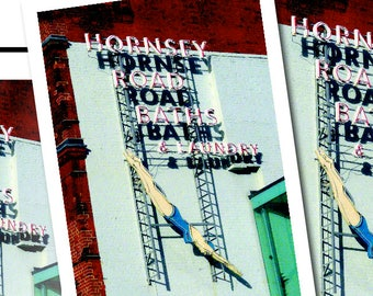 Poster A3 or A2 – Hornsey Road Baths & Laundry Art Deco sign by day – PRINT ONLY (not framed) – Free UK postage