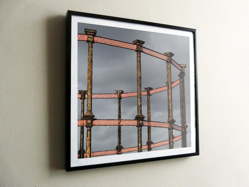 Kings Cross Gas Holder No 8 – SQUARE – flat print or framed – FREE UK  postage