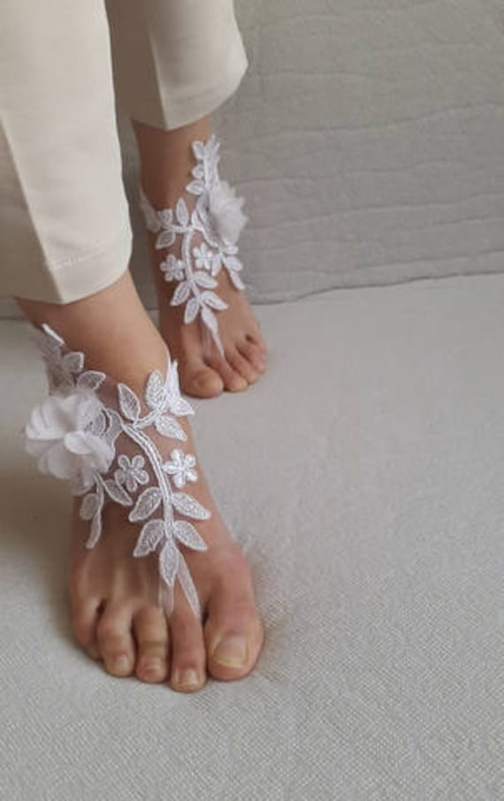 white accessories costume sandals Barefoot shipping free sandals barefoot lace wedding sandals flowers french ExAwvqC