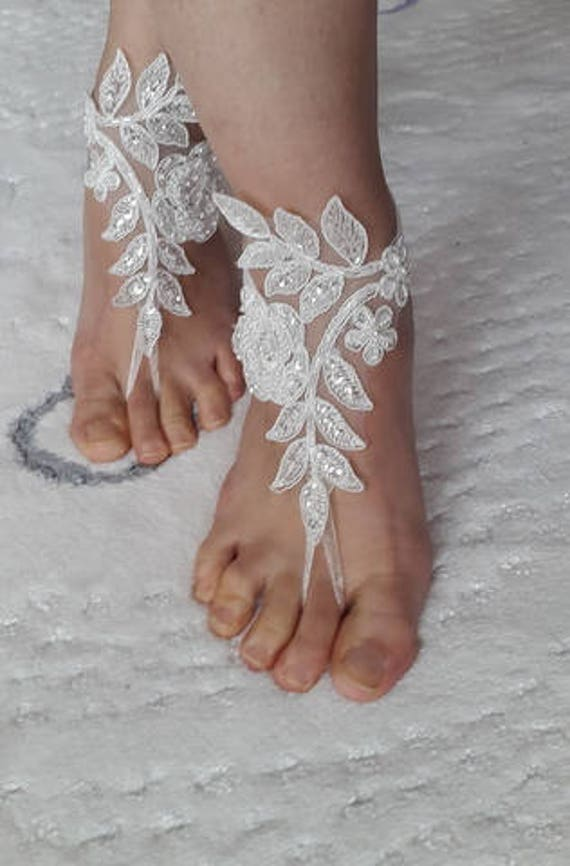 shipping shoes Beaded barefoot summer ivory shoes costume sandals shoes wedding sandals bridal shoes free lace accessories wedding IxUn0aI