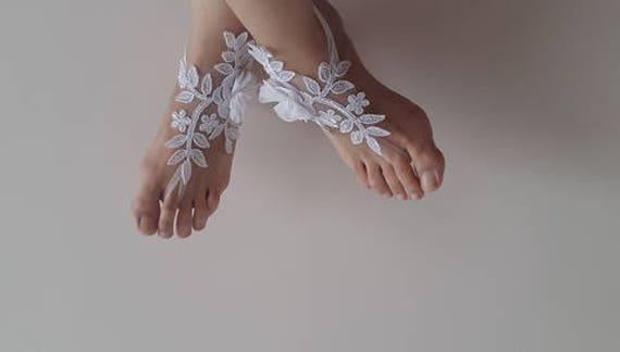 free wedding shipping french sandals lace flowers accessories barefoot Barefoot white sandals costume sandals 0fUcPW7qO