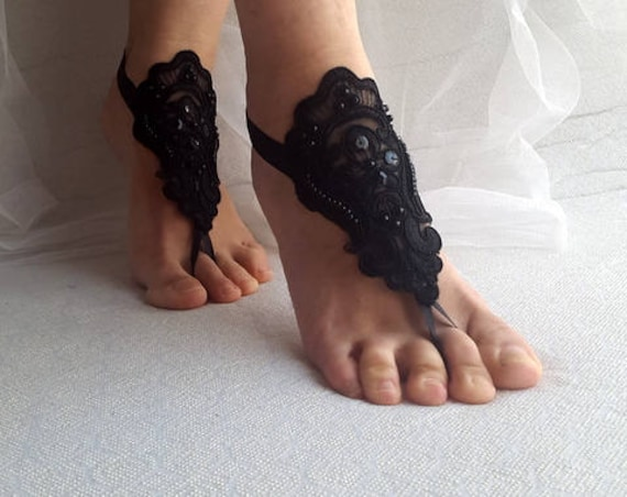 black shipping wedding lace Beaded costume accessory shoes sandals halloween summer free shoes wedding BR7x7nY6qw