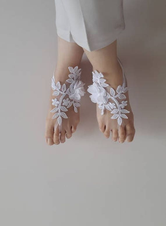 white shipping free accessories barefoot lace costume sandals sandals sandals french Barefoot flowers wedding g4E74wqB