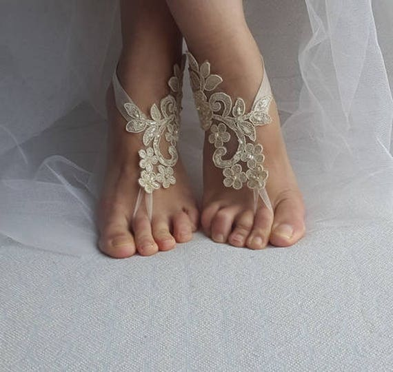 lace wedding bridal shipping summer sandals shoes Beaded free sandals shoes shoes beach barefoot wedding shoes champagne accessories PHUHzS