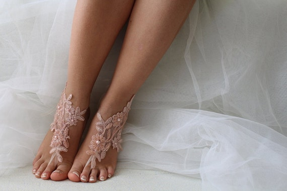 bridal pink lace barefoot wedding Beaded sandals lace sandals sandals wedding sandals shoes 8xwfqR