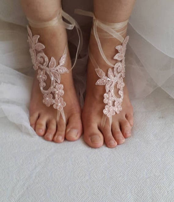 shoes wedding shoes sandals sandals barefoot bridal pink wedding lace sandals Wedding shipping free sandals Beaded PTdwqP8