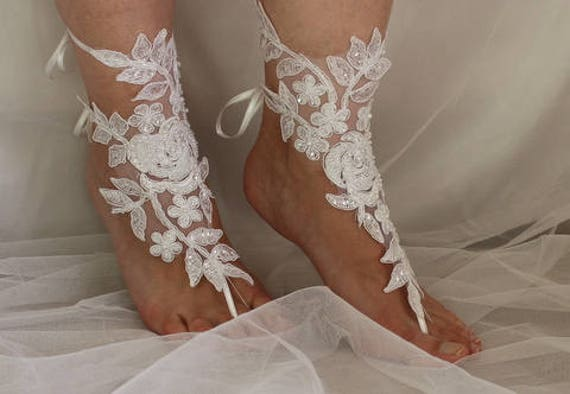 accessories wedding shoes barefoot wedding white lace 3A dress shoes sandals foot N Beaded jewelry sandals summer prom pwCw7x