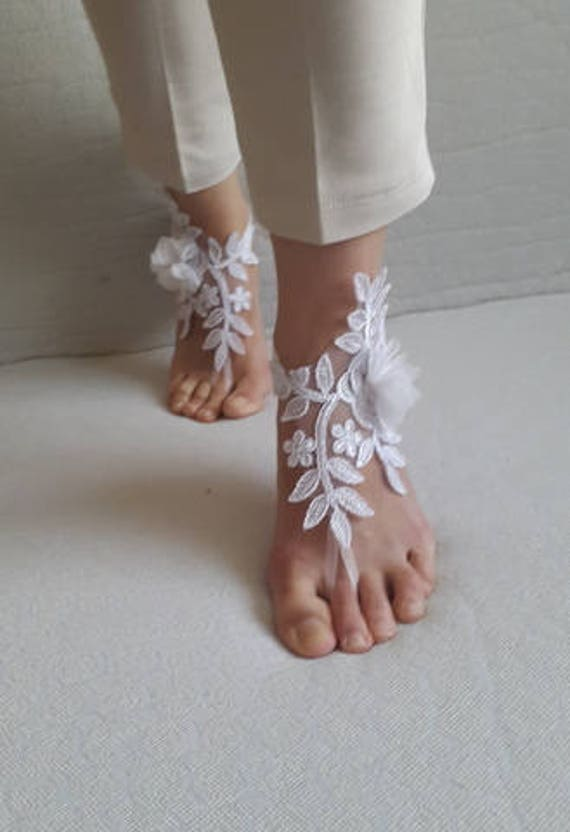 costume flowers sandals sandals Barefoot white barefoot lace french accessories shipping wedding sandals free Sp5wzf6xq
