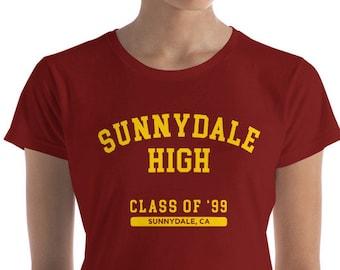 Buffy the Vampire Slayer Burgundy T-Shirt, Sunnydale High Class of 99 Retro Shirt, Varsity Style Print Shirt, High School Shirt